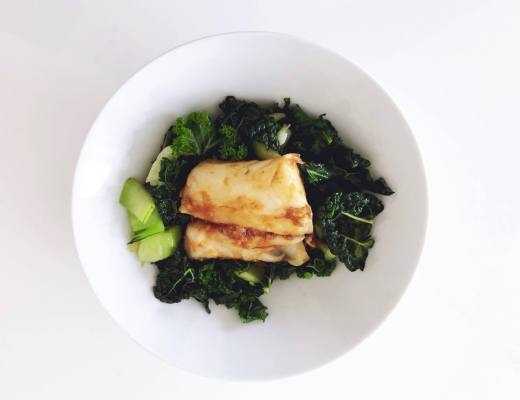 Easy Asian Fish with green veg