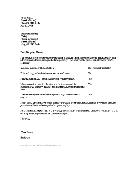 Network Administrator Cover Letter Cover Letters Templates