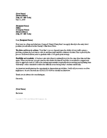 New College Grad Cover Letter Reply To Ad Cover Letters