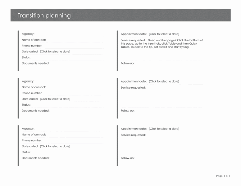 Child Transition Planning Planners Templates