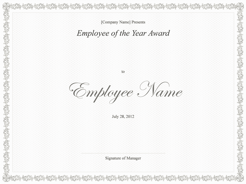 Employee Of The Year Award Template Employee