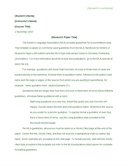 mla style paper template