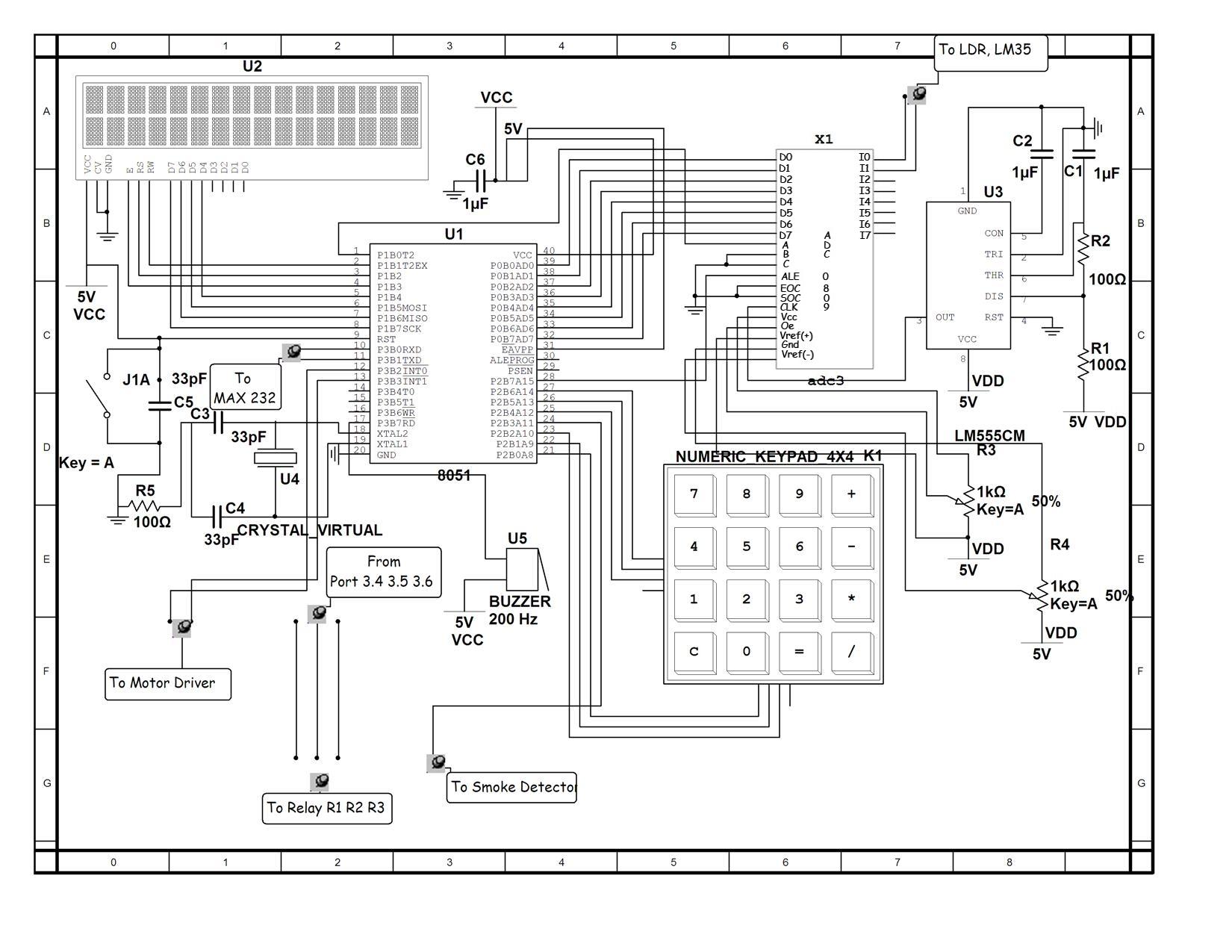 gsm controlled robot circuit diagram using 8051 microcontroller
