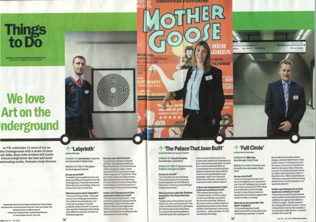 Jack talks about Mark Wallinger's 'Labyrinth' in the July 2016 edition of Time Out magazine, in conjunction with the launch of the new 'Art for Everyone' campaign by Art on the Underground.
