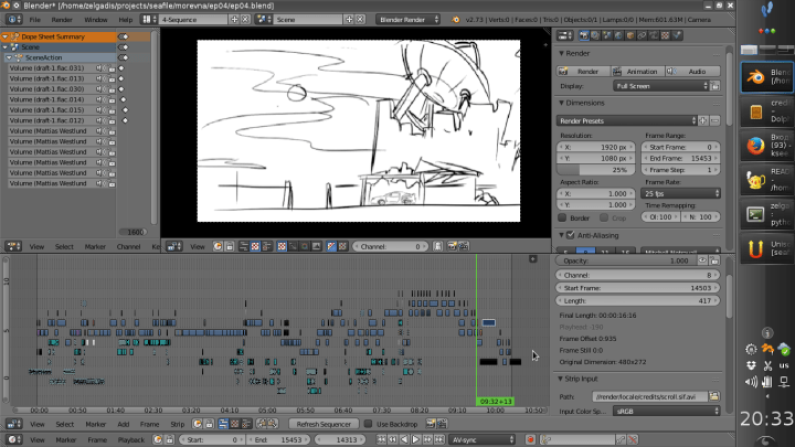 Animatic video sequence composed together in Blender