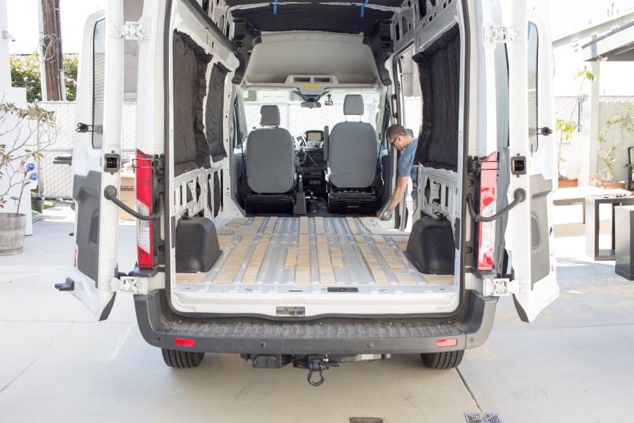 Strips of wood in the low parts of the van floor