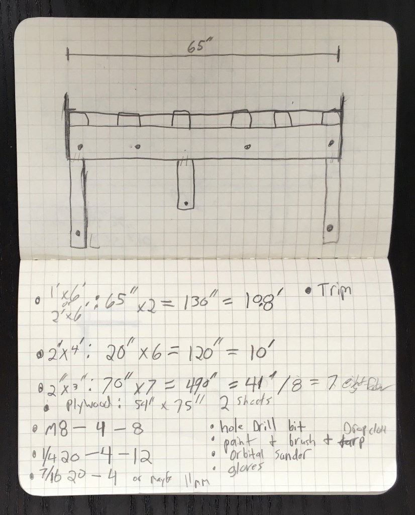 sketch of bed supports