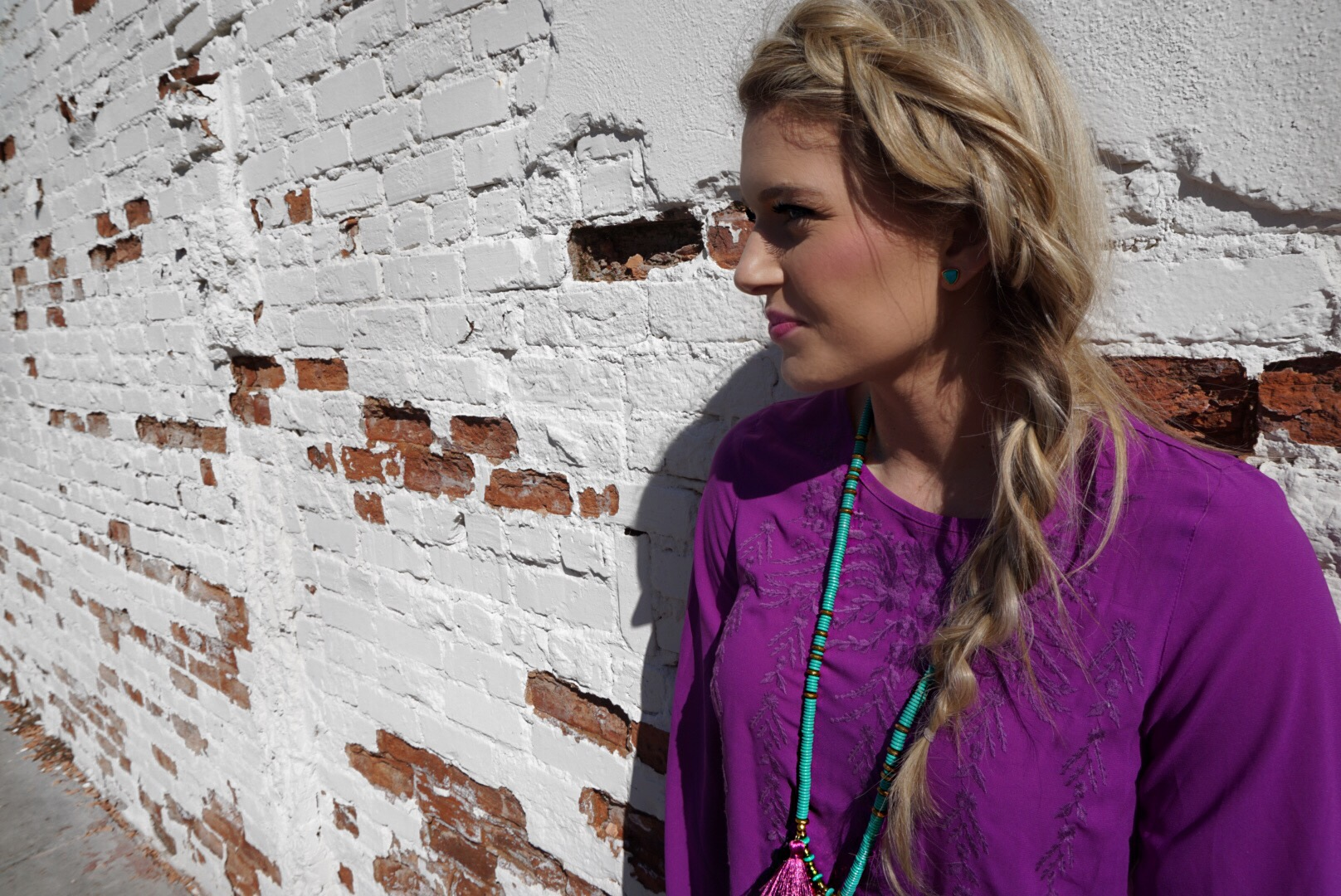 betsy pittard designs teresa tassel necklace and turquoise triangle studs