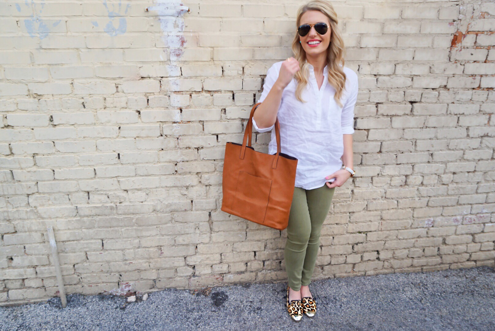 Olive Jeans with White Shirt and Leopard Flats