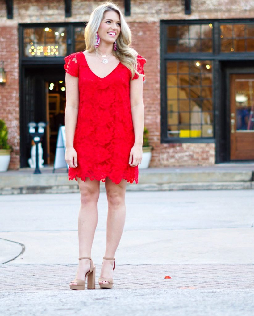 Valentine's Day: Red Lace Dress