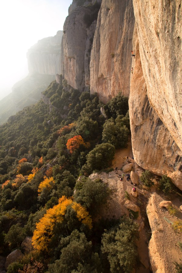 Couleurs d'automne sur la falaise de Montsant