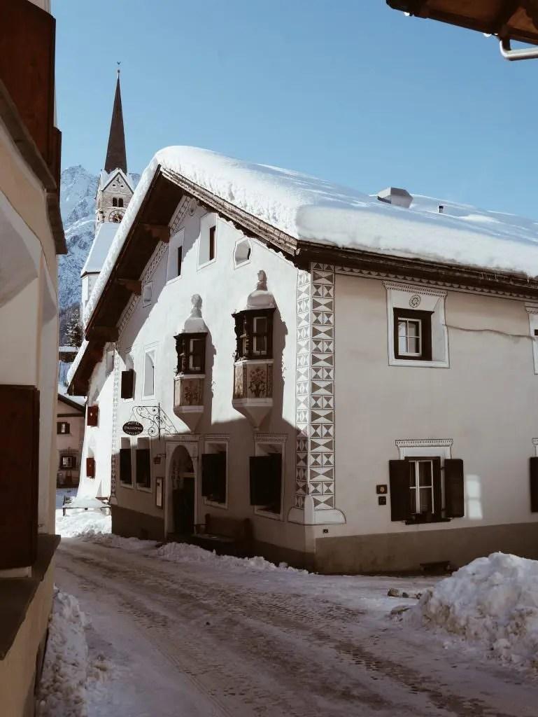Scuol village Switzerland Engadine winter