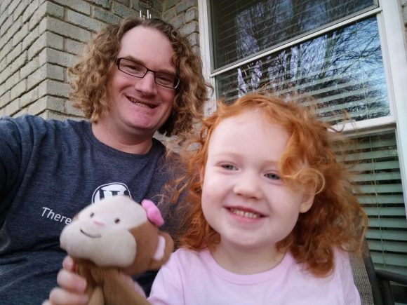 On the back porch with my monkey (and hers).