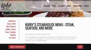 screenshot of kirbyssteakhouse.com/menu