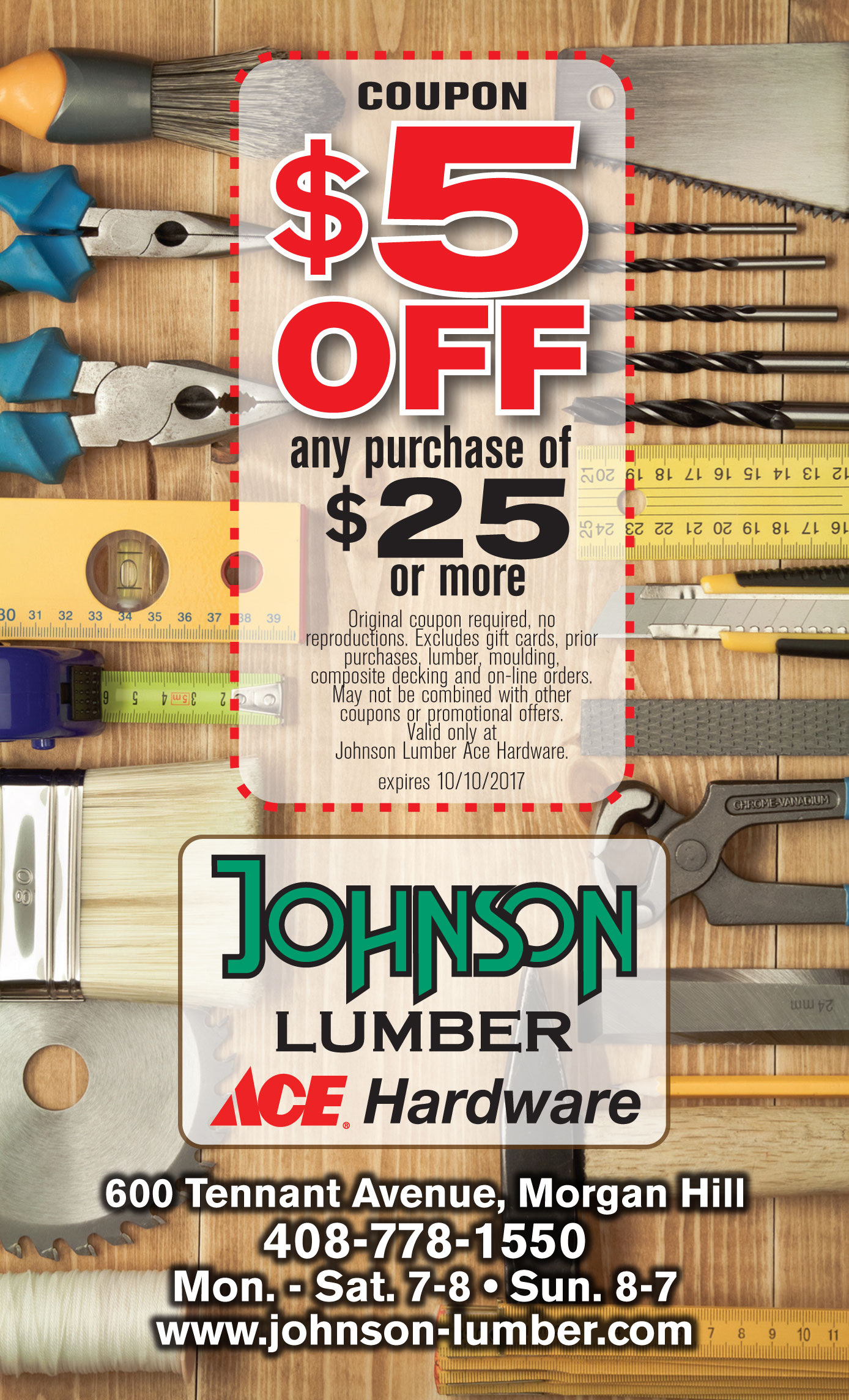 hight resolution of johnson lumber ace hardware 5 off 25 or more coupon
