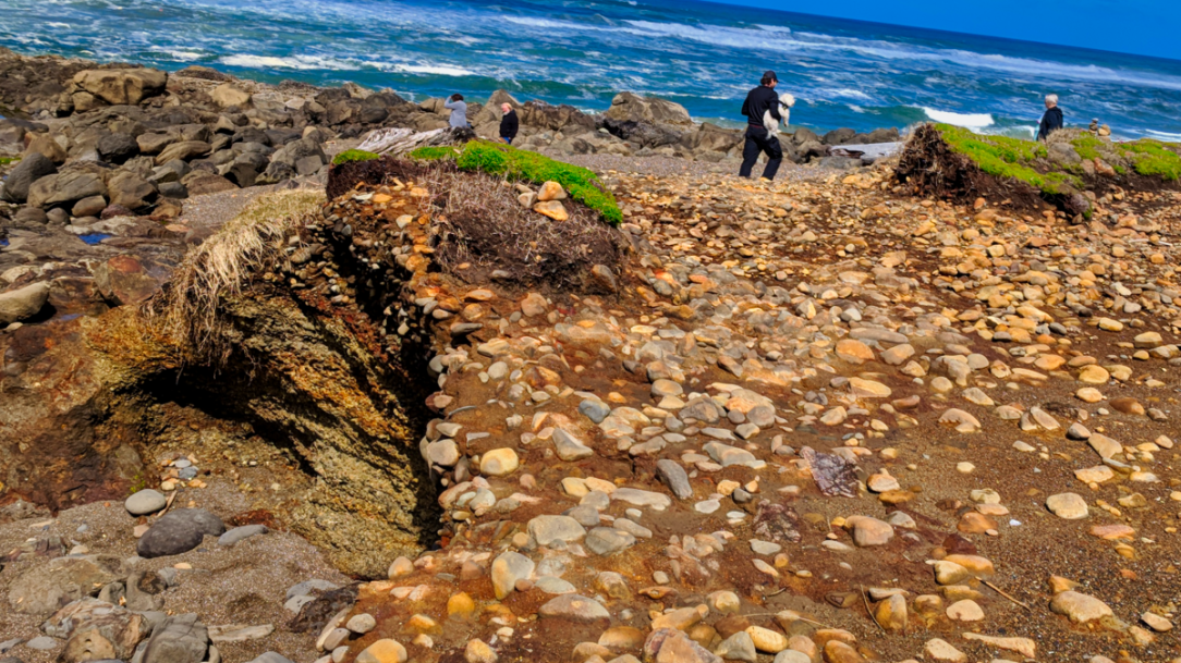climbing down beach cliffs to the tidepools