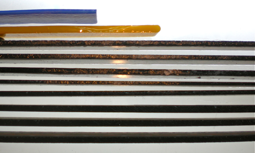 sliced glass from a tile saw