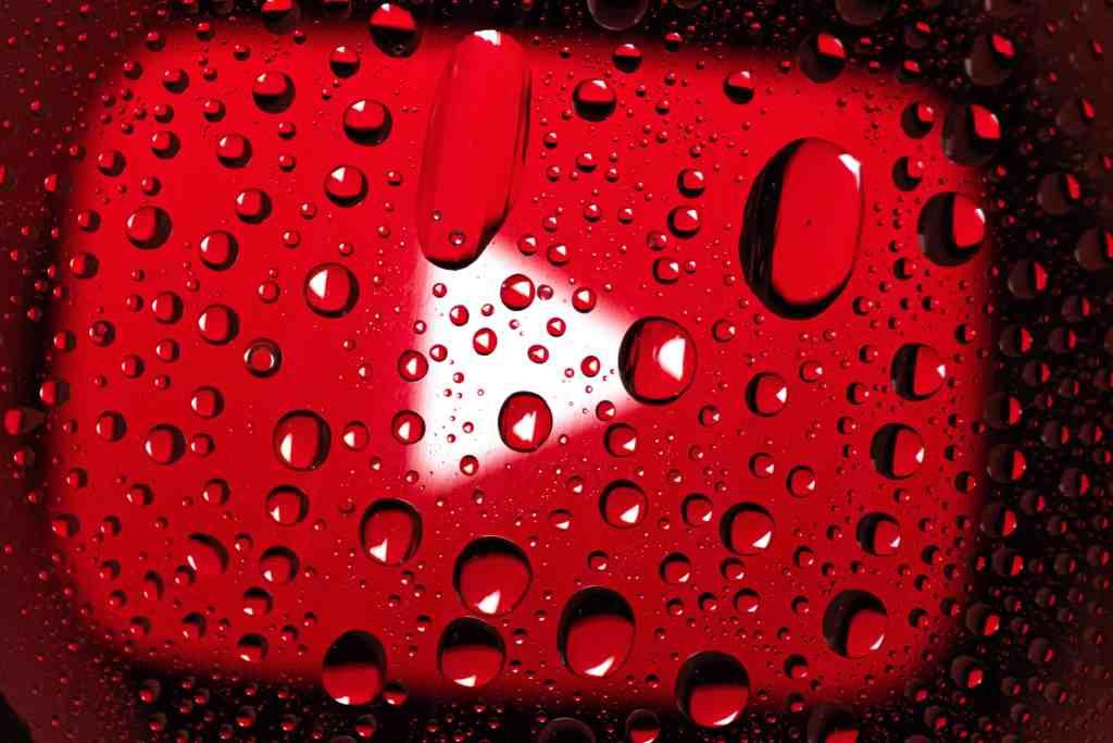 YouTube logo in the rain