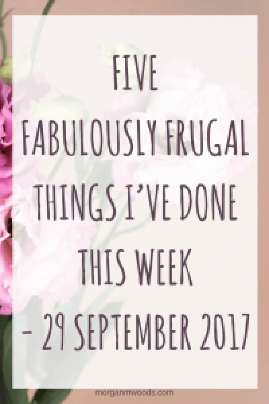 Five Fabulously Frugal Things I've Done This Week - 29 September 2017