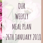 Our weekly meal plan – 26th January 2018