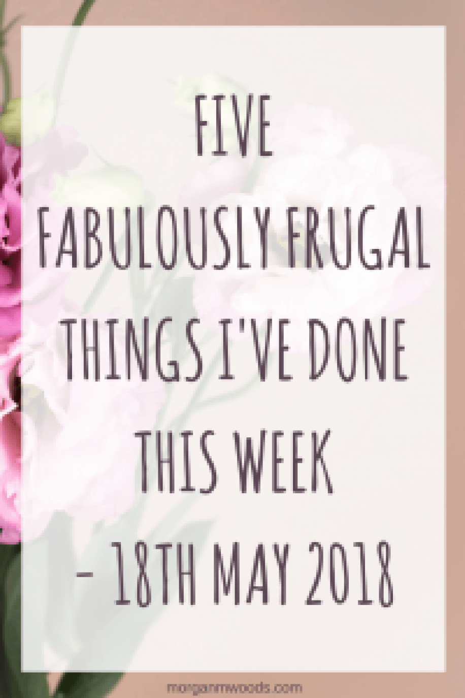 Five fabulously frugal things I've done this week - 18th May 2018