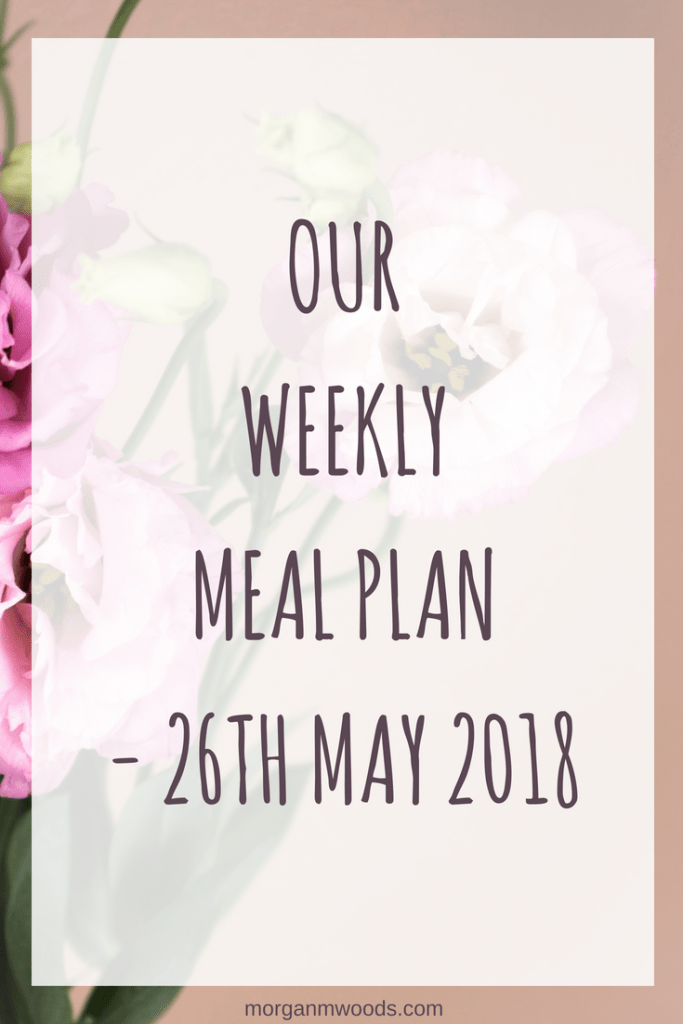 Weekly meal plan – 26th May 2018