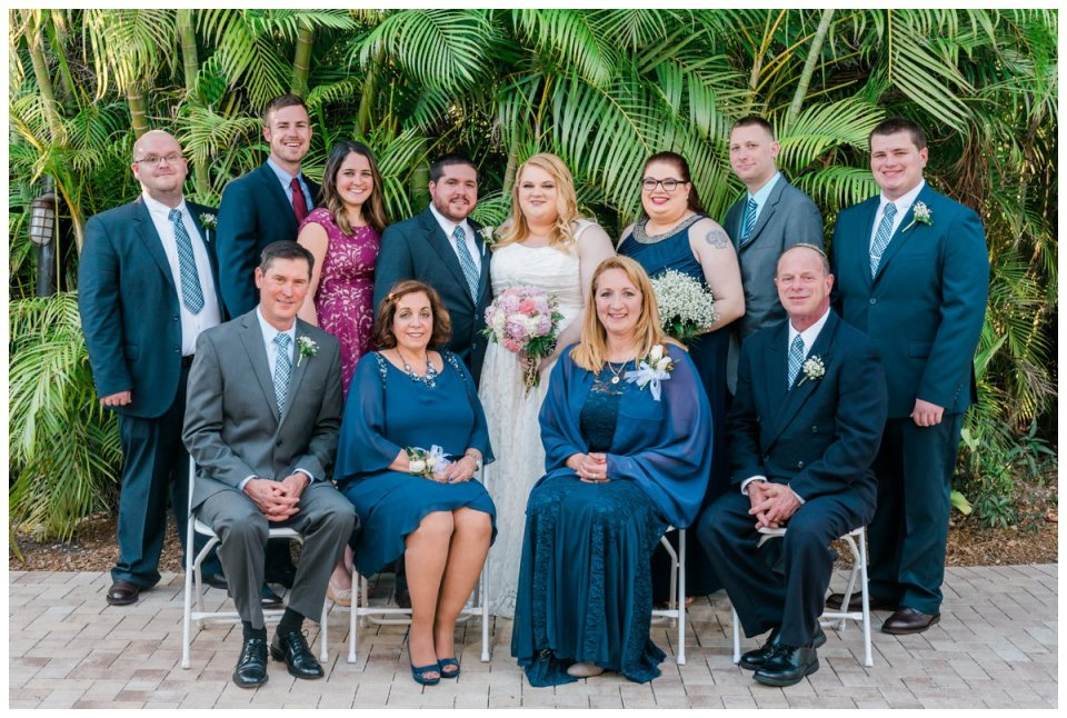 family portraits at palm beach zoo wedding