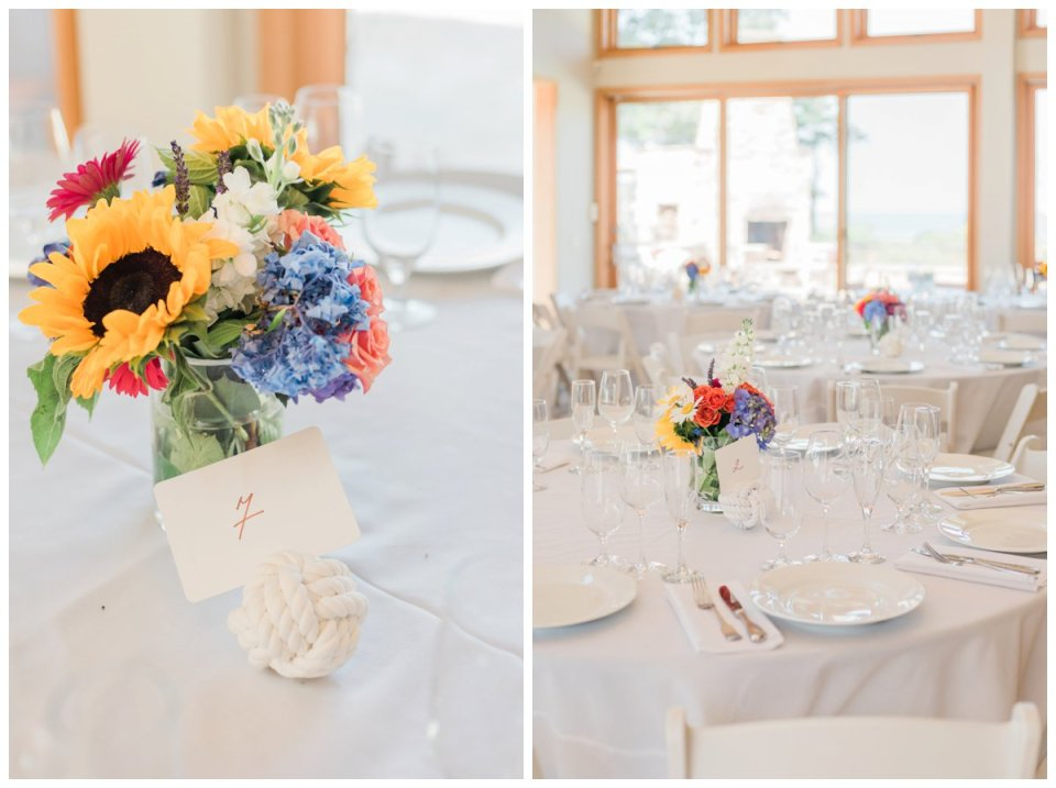 centerpieces and table scape at a falmouth beach wedding