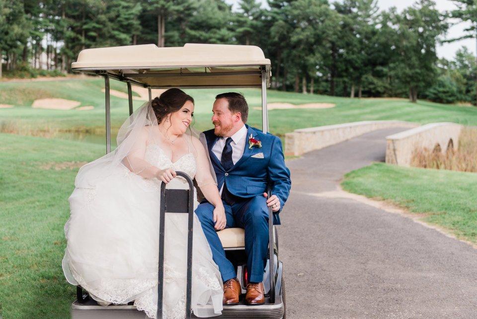 Indian pond wedding photos on the golf course