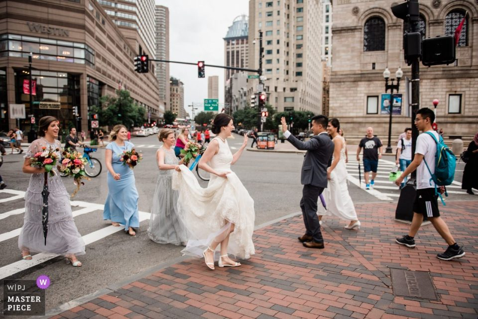 Boston wedding photojournalism in Copley Square