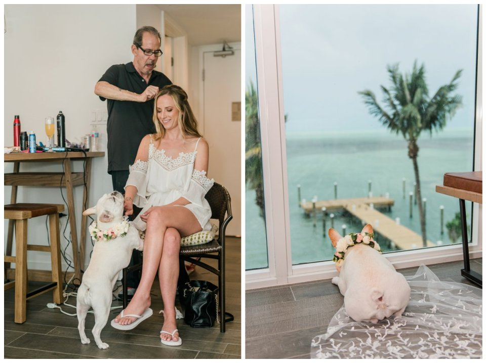 bride getting ready with her dog at amara cay
