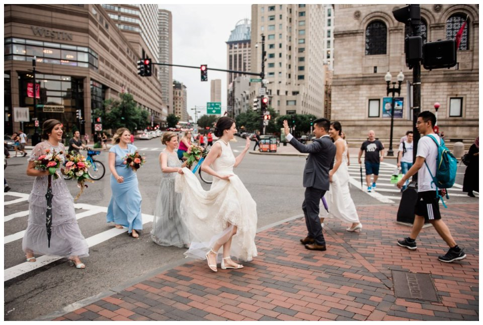 bride and groom portraits in copley square boston for a westin copley place wedding