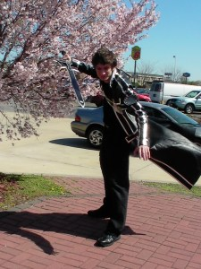 Derrick here as Kirito from Sword Art On-line.  I love the wind blowing his coat effect.  :)