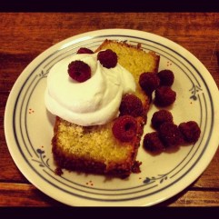 Almond Cake with Maple Whipped Cream
