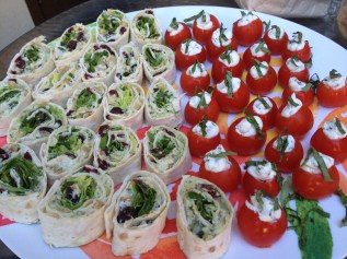 Goat Cheese Stuffed Tomatoes and Rolled Sandwiches