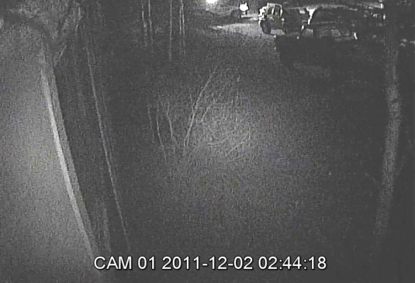 This is a snapshot from the video over one of Morgan's windows showing one of the patrols the night of December 1st and morning of December 2nd.