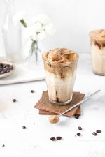 A creamy dairy-free collagen smoothie topped with whipped Dalgona coffee and a chocolate drizzle makes the perfect healthy breakfast smoothie! Dairy-free, gluten-free, and fruitless!