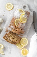 This Gluten Free Lemon Olive Oil Loaf is about to become your favorite grain-free snack. This moist lemon bread is bursting with citrus flavor in a springy, gluten-free crumb.