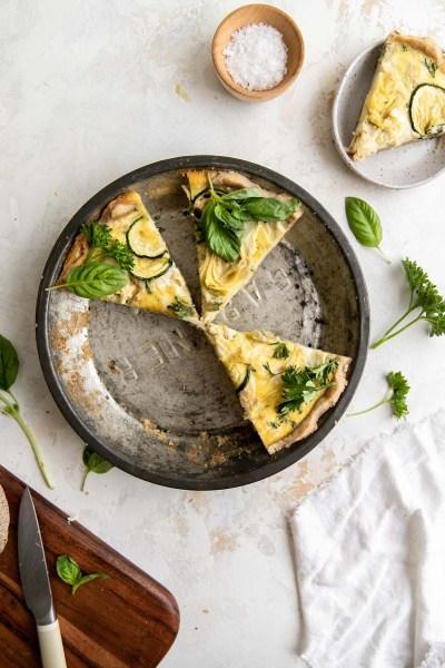 Gluten-Free Artichoke and Veggie Quiche with Sauerkraut