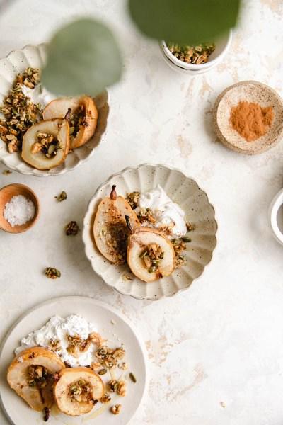 Salted Cardamom Honey Roasted Pears