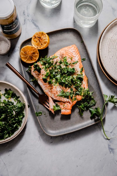 Crispy Salmon with Horseradish Gremolata
