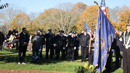 veterans at Soldiers & Sailors Memorial Park - 2018 East Moriches Veterans Day Parade