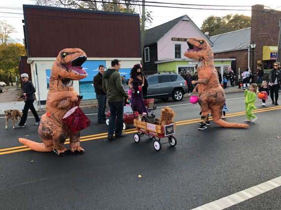 March of the Goblins, Halloween, Center Moriches: dancing dinosaurs