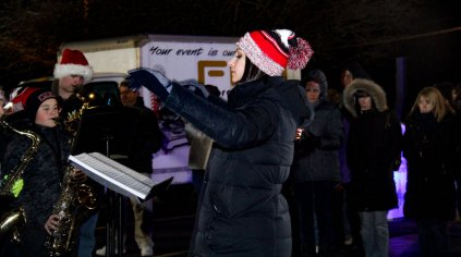 band leader at 2018 Moriches Chamber tree lighting