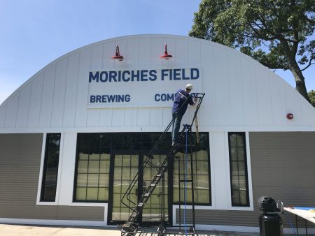 Finishing off the last exterior sign for Moriches Field Brewing Co.