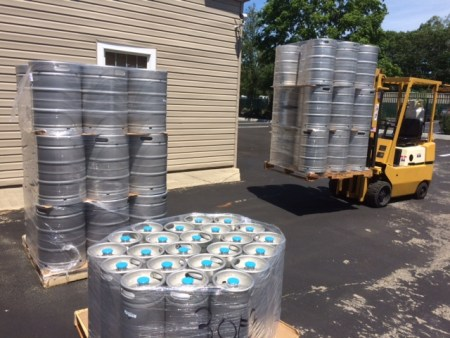 Kegs being delivered to Moriches Field Brewing Co