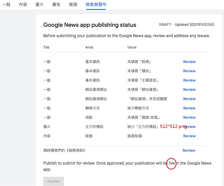 Google新聞來源提交申請必要提交事項頁面