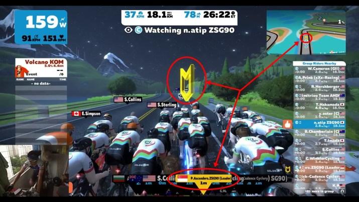 ZWIFT(ズイフト) ライド画面の詳細説明 近くのライダー情報の横にある各マークの意味 グループリーダー