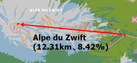 Alpe du Zwift 距離13.21km 獲得標高1036m 平均勾配8.42%