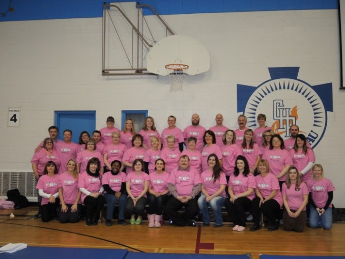Primeau teachers and staff gathered together Wednesday morning for a Pink Picture. They were all wearing pink for Anti-Bullying Day. The students also gathered for a group photo and sold cupcakes and handed out pink ribbons to support anti-bullying.
